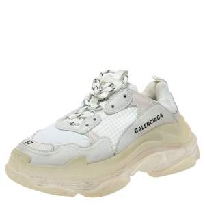 Balenciaga White Mesh And Leather Triple S Platform Sneakers Size 37