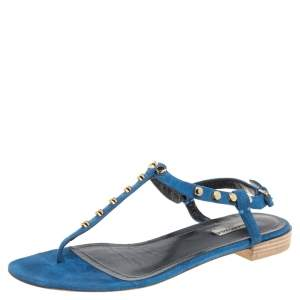 Balenciaga Blue Suede Leather Studded Arena Flats Size 40