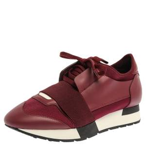 Balenciaga Burgundy Leather And Mesh Race Runners Sneakers Size 37