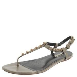 Balenciaga Grey Studded Leather Arena Thong Flat Sandals Size 41