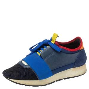 Balenciaga Multicolor Leather, Suede And Mesh Race Runner Sneakers Size 38