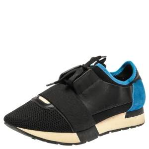 Balenciaga Black/Blue Suede Leather And Mesh Race Runner Low Top Sneakers Size 39