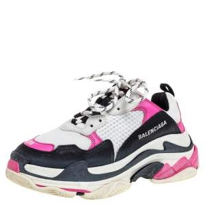 Balenciaga Tri Color Mesh And Leather Triple S Trainer Sneakers Size 38