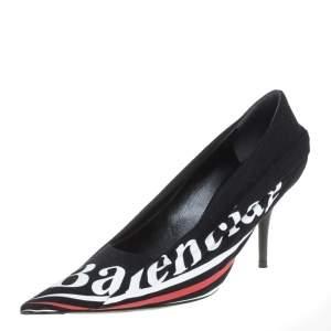 Balenciaga Black Fabric And Leather Knife Logo Pointed Toe Pumps Size 38