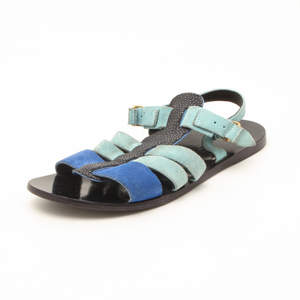 Balenciaga Light Blue Suede and Stingray Sandals Size 37.5