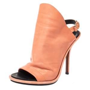 Balenciaga Peach Orange Leather Glove Peep Toe Sandals Size 38
