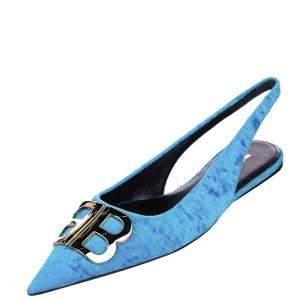 Balenciaga Blue Velvet Knife Slingback Sandals