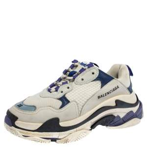 Balenciaga White/Blue Leather And Mesh Triple S Low Top Sneakers Size 38