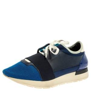 Balenciaga Blue Suede Leather And Mesh Race Runner Low Top Sneakers Size 40