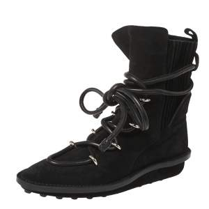 Balenciaga Black Suede Leather Snow Mountain Ankle Wrap Boots Size 39