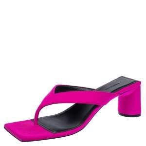 Balenciaga Pink Satin Square Toe Thong Sandal Size 37