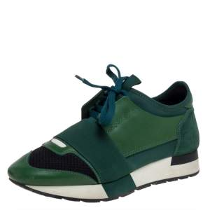 Balenciaga Green/Black Mesh And Suede Leather Race Runner Low Top Sneakers Size 36