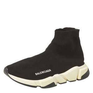 Balenciaga Black Knit Fabric Sock Sneakers Size 39