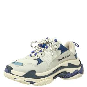 Balenciaga White/Blue Mesh And Leather Triple S Low Top Sneakers Size 37