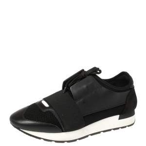Balenciaga Black Suede/Leather Mesh And Fabric Race Runner Low Top Sneakers Size 40