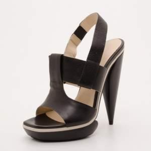 Balenciaga Black Leather Platform Sandals Size 38.5