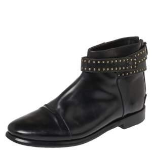 حذاء بوت بالنسياغا سيور كاحل ترصيعات جلد أسود مقاس 39