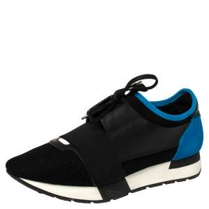 Balenciaga Black/Blue Suede Leather And Mesh Race Runner Low Top Sneakers Size 40