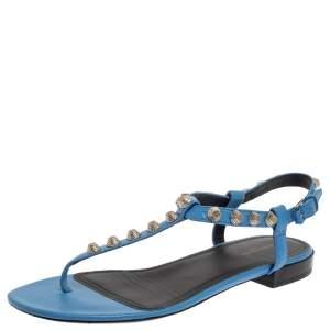 Balenciaga Blue Leather Studded Thong Flat Sandals Size 37.5