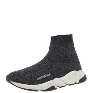 حذاء رياضي بالنسياغا سبيد ترينر تريكو قماش غليتر فضي و أسود مقاس 40
