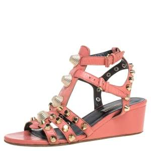 Balenciaga Pink Leather Arena Studded Gladiator Wedge Sandals Size 37