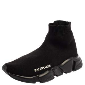 Balenciaga Black Knit Fabric Speed Trainer Sneakers Size 36