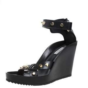 Balenciaga Black Leather Studded Wedge Sandals Size 40
