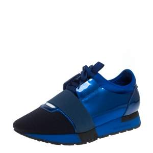 Balenciaga Blue Fabric And Patent Leather Race Runner Sneakers Size 39