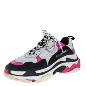 حذاء رياضى بالنسياغا منخفض من أعلى أس ثلاثى وشبك وجلد وردى / أبيض مقاس 38
