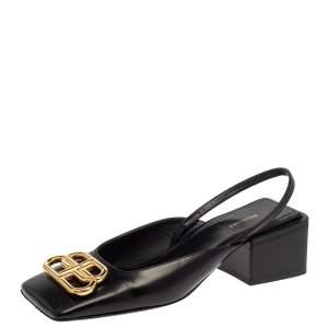 Balenciaga Black Leather BB Logo Square Toe Slingback Sandals Size 35.5