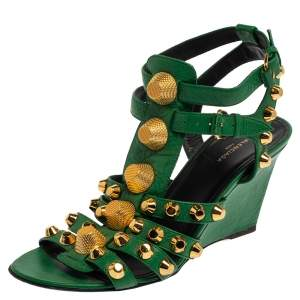 Balenciaga Green Leather Arena Studded Gladiator Wedge Sandals Size 36