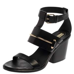 Balenciaga Black Leather Ankle Wrap Block Heel Sandals Size 39