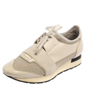 Balenciaga Cream/Grey Leather and Fabric Race Runner Sneaker Size 39