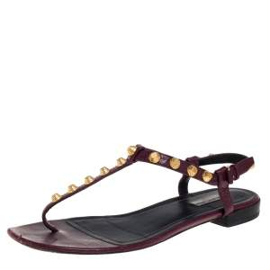 Balenciaga Burgundy Studded Leather Arena Thong Sandals Size 39.5