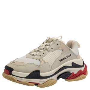 Balenciaga Multicolor Leather And Mesh Triple S Sneakers Size 39