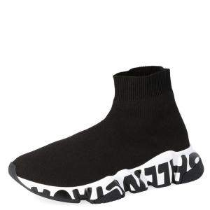 Balenciaga Black Knit Speed Graffiti Sneakers Size EU 36