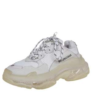 Balenciaga Grey Mesh And Leather Triple S Clear Sole Sneakers Size 37