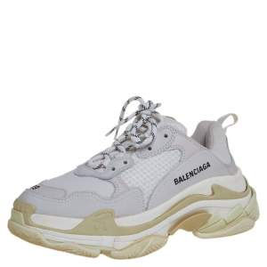 Balenciaga White/Grey Mesh And Leather Triple S Sneakers Size 39
