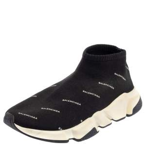 Balenciaga Black Knit Fabric Speed Logo Sneakers Size 38