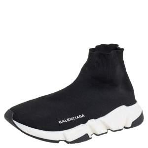 حذاء رياضي بالنسياغا سبيد قماش تريكو أسود مرتفع من أعلى مقاس 39
