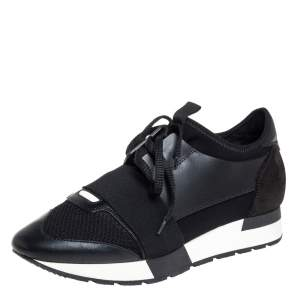 Balenciaga Black Mesh And Leather Race Runner Low Top Sneakers Size 38