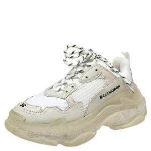 Balenciaga White Mesh And Leather Triple S Clear Sole Platform Sneakers Size 38