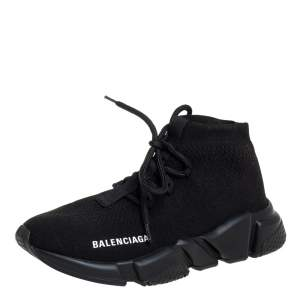 Balenciaga Black Knit Fabric Speed Trainer Lace Up Sneakers Size 37