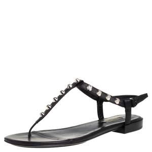 Balenciaga Black Leather Studded Thong Flats Size 39