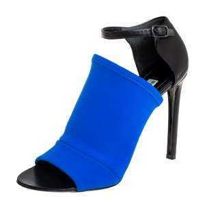 Balenciaga Blue/Black Neoprene And Leather Glove Ankle Strap Sandals Size 36