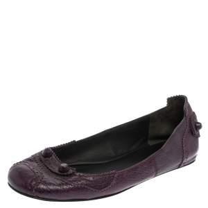 حذاء باليرينا فلات بالنسياغا كوكيليكوت نمط بروغي جلد بنفسجي مقاس 38.5