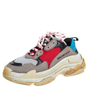 Balenciaga Multicolor Mesh And Leather Triple S Low Top Sneakers Size 37