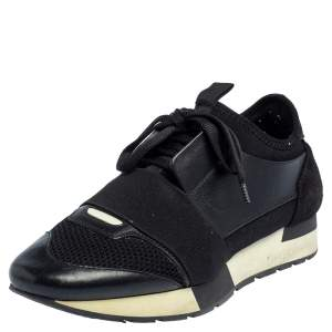 Balenciaga Black/White Leather And Mesh Race Runner Sneakers Size 38