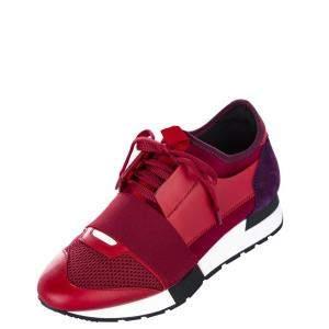 Balenciaga Nylon/Suede/Mesh Monochrome Race Runner Sneaker EU 37