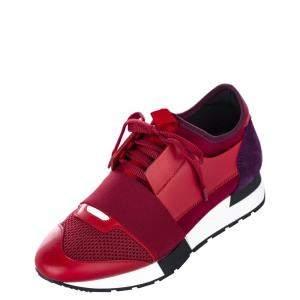 Balenciaga Nylon/Suede/Mesh Monochrome Race Runner Sneaker EU 36